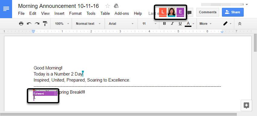 Google Meet live editing interface